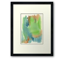 Watercolor Hand Painted Abstract Green Brown Blue Background Framed Print