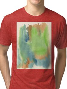 Watercolor Hand Painted Abstract Green Brown Blue Background Tri-blend T-Shirt
