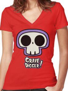Grave Logo Women's Fitted V-Neck T-Shirt