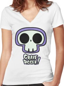 Grave Logo Women's Fitted V-Neck T-Shirt