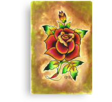 Tattoo Rose Watercolor #1 Canvas Print