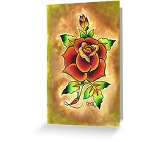 Tattoo Rose Watercolor #1 Greeting Card