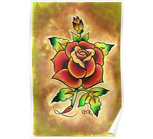 Tattoo Rose Watercolor #1 Poster