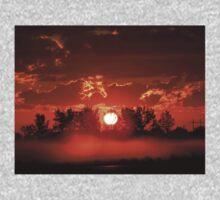Flaming Horses over the Foggy Sunrise  Kids Tee