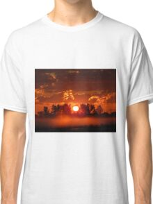 Flaming Horses over the Foggy Sunrise  Classic T-Shirt