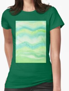 Hand-Painted Fresh Green Watercolor Abstract Background  Womens Fitted T-Shirt