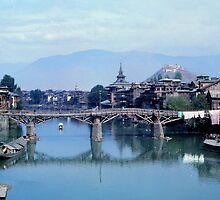 Srinigar Bridge over Jhelum  River by Eva Kato
