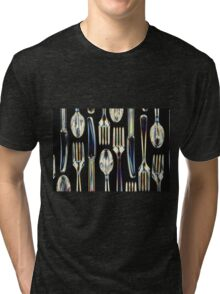 Plastic Knives, Forks and Spoons Arranged In A Pattern Tri-blend T-Shirt