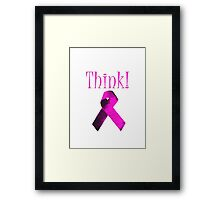 Think Pink Ribbon For Breat Cancer Awareness Framed Print