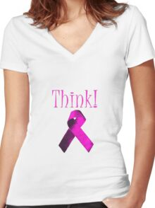 Think Pink Ribbon For Breat Cancer Awareness Women's Fitted V-Neck T-Shirt