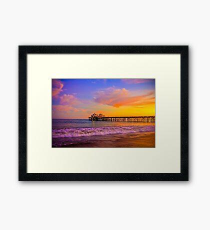 Sunset Light at Malibu Pier Framed Print