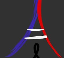 Flag Colored Eiffel Tower and Ribbon by coconutbistro