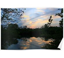Mirrored Sunset at Hidden Lake Poster