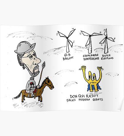 Mario Rajoy Don Quixote caricature Poster