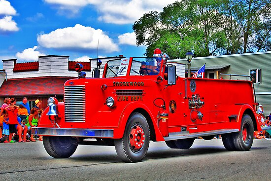 Vintage Fire Truck by EBArt