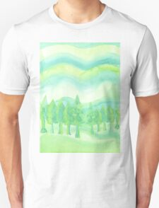 Watercolor Hand Painted Green Trees Abstract Background T-Shirt
