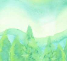 Watercolor Hand Painted Green Trees Abstract Background Sticker