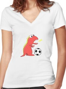 Blue Funny Cartoon Dinosaur Soccer Women's Fitted V-Neck T-Shirt