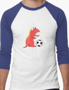Blue Funny Cartoon Dinosaur Soccer Men's Baseball ¾ T-Shirt