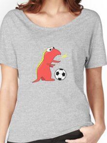 Blue Funny Cartoon Dinosaur Soccer Women's Relaxed Fit T-Shirt