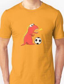 Blue Funny Cartoon Dinosaur Soccer Unisex T-Shirt