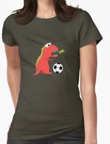 Blue Funny Cartoon Dinosaur Soccer Womens Fitted T-Shirt