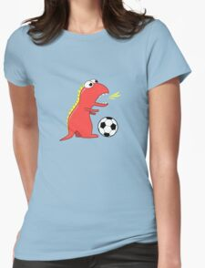 Blue Funny Cartoon Dinosaur Soccer Womens Fitted T-Shirt