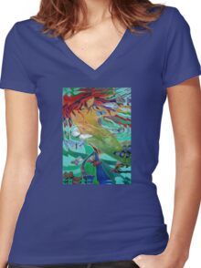 Mermaid and Butterflies Women's Fitted V-Neck T-Shirt