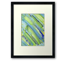 Watercolor Hand Painted Abstract Green Bamboo Texture Framed Print