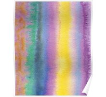 Watercolor Hand Painted Multicolor Stripes Background Poster