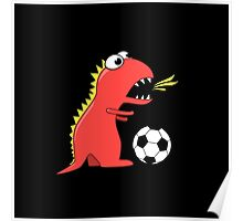Black Funny Cartoon Dinosaur Soccer Poster