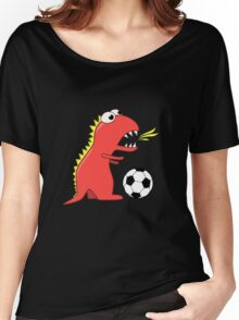 Black Funny Cartoon Dinosaur Soccer Women's Relaxed Fit T-Shirt