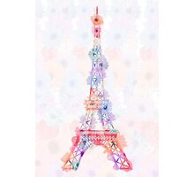 Flower Eiffel Tower Paris Photographic Print