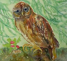 Tawny Owl with Toadstools by Nicky Perryman
