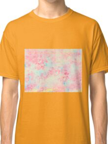 Watercolor Hand Painted Speckled Pink Blue Abstract Texture Classic T-Shirt