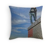 Skating Rooftop Throw Pillow