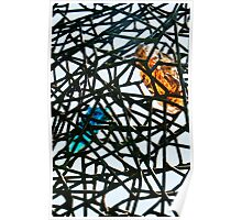 Colored glass in metal bars sculpture Poster