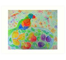 Parrot and Pears Art Print