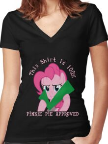 Pinkie Pie Approves Women's Fitted V-Neck T-Shirt