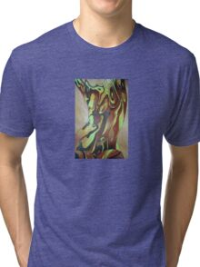 Contemporary Nude Abstract In Brown Tri-blend T-Shirt