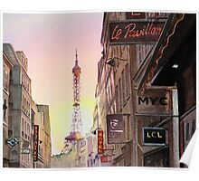 Sunset in Paris Poster