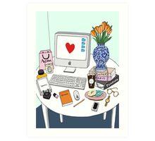 New Yorker's Desk Art Print