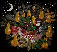 Partridge in a Pear Tree Embroidery by Nicky Perryman