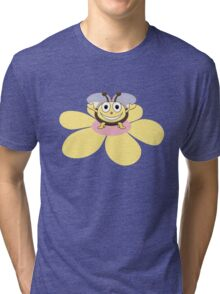 Happy Cartoon Bee on Flower Tri-blend T-Shirt