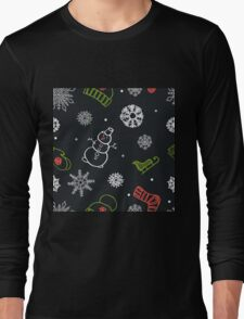 Beautiful winter seamless ornament for christmas winter design Long Sleeve T-Shirt