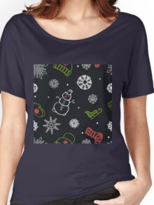 Beautiful winter seamless ornament for christmas winter design Women's Relaxed Fit T-Shirt