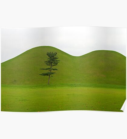 Hill tombs and tree, Korea Poster