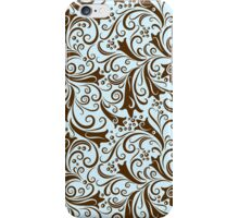Brown And Blue Elegant Vintage Floral Pattern  iPhone Case/Skin