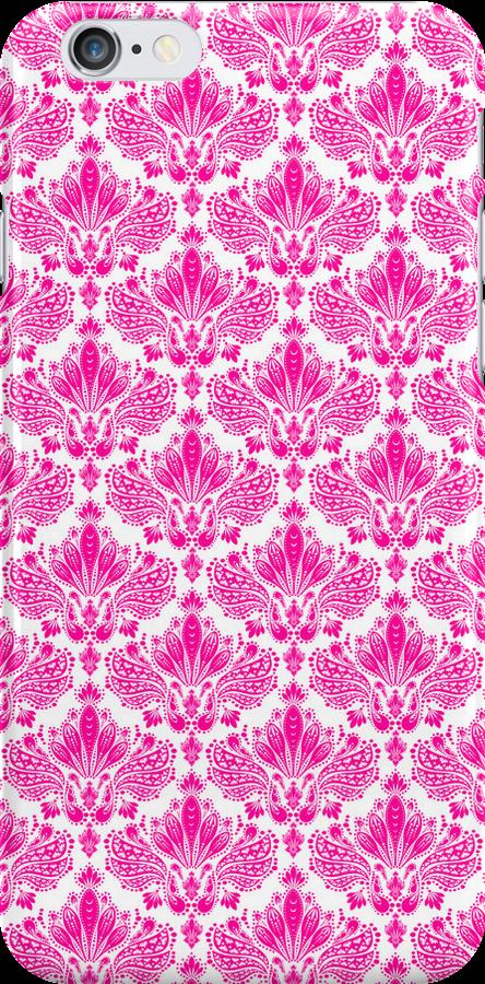 Pink & White Vintage Floral Damasks Pattern by artonwear