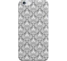 Gray & White Retro Floral Damasks Pattern iPhone Case/Skin